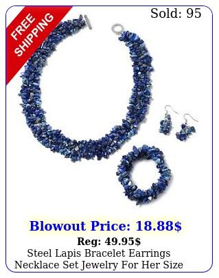 steel lapis bracelet earrings necklace set jewelry size '' c