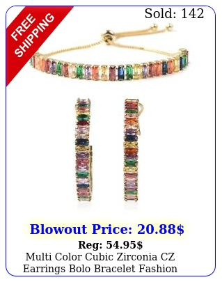 multi color cubic zirconia cz earrings bolo bracelet fashion jewelry set c