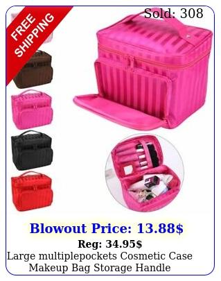 large multiplepockets cosmetic case makeup bag storage handle organizer trave