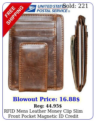 rfid mens leather money clip slim front pocket magnetic id credit card walle