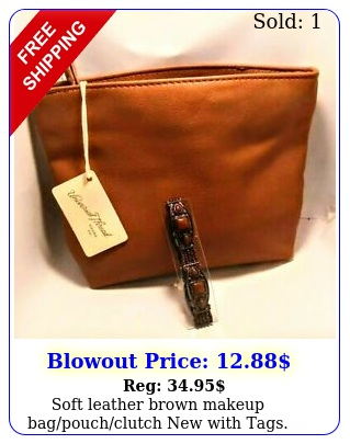 soft leather brown makeup bagpouchclutch with tags includes free gif