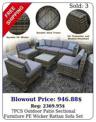 pcs outdoor patio sectional furniture pe wicker rattan sofa set garden yar