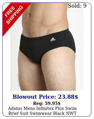 adidas mens infinitex plus swim brief suit swimwear black nwt mens