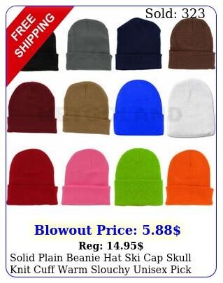 solid plain beanie hat ski cap skull knit cuff warm slouchy unisex pick color