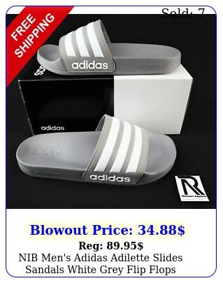 nib men's adidas adilette slides sandals white grey flip flops shower gym swi