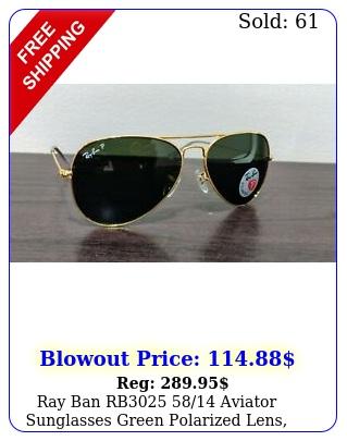 ray ban rb aviator sunglasses green polarized lens gold fram