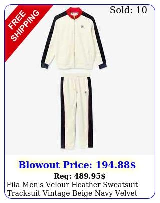 fila men's velour heather sweatsuit tracksuit vintage beige navy velvet sz s m