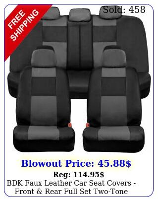 bdk faux leather car seat covers front rear full set twotone black gra