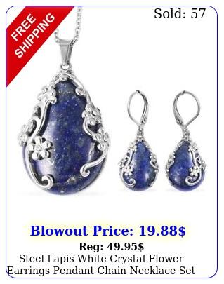 steel lapis white crystal flower earrings pendant chain necklace set siz