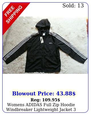 womens adidas full zip hoodie windbreaker lightweight jacket stripe multi siz