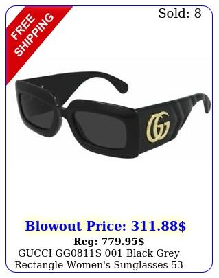 gucci ggs black grey rectangle women's sunglasses m