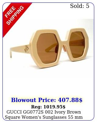 gucci ggs ivory brown square women's sunglasses m