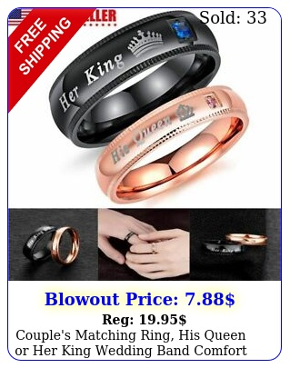 couple's matching ring his queen or king wedding band comfort fit ring u