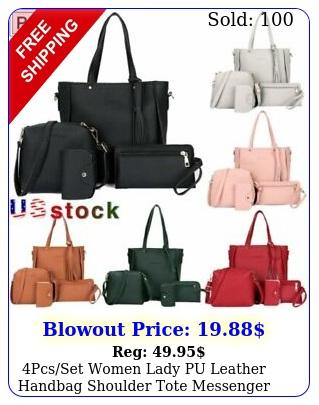 pcsset women lady pu leather handbag shoulder tote messenger bag satchel purs
