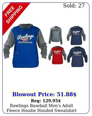 rawlings baseball men's adult fleece hoodie hooded sweatshir