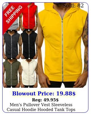 men's pullover vest sleeveless casual hoodie hooded tank tops muscle sweatshir