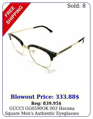 gucci ggok havana square men's authentic eyeglasses frame m