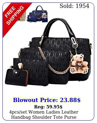 pcsset women ladies leather handbag shoulder tote purse satchel messenger ba