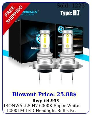 ironwalls h k super white lm led headlight bulbs kit high low bea