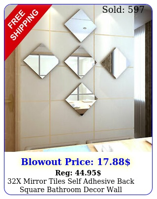 x mirror tiles self adhesive back square bathroom decor wall stickers mosai