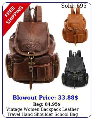 vintage women backpack leather travel hand shoulder school bag satchel rucksac