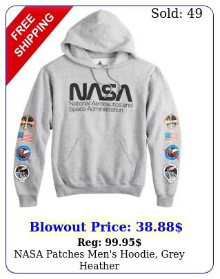 nasa patches men's hoodie grey heathe