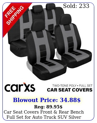 car seat covers front rear bench full set auto truck suv silver gra