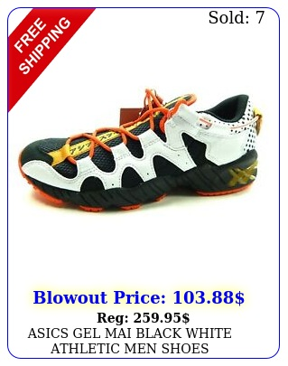 asics gel mai black white athletic men shoe