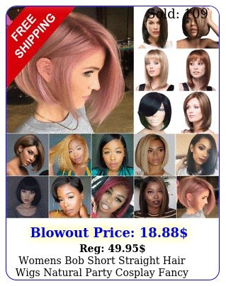 womens bob short straight hair wigs natural party cosplay fancy real full wi