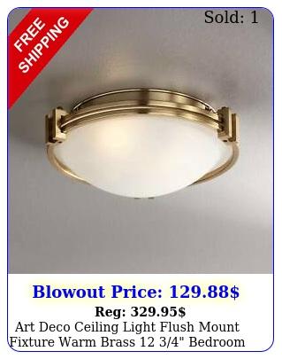 art deco ceiling light flush mount fixture warm brass  bedroom hallwa