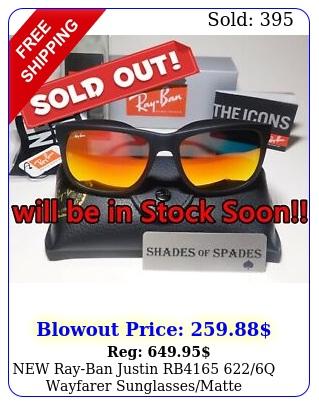 rayban justin rb q wayfarer sunglassesmatte blackred mirror m