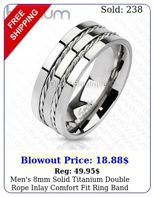 men's mm solid titanium double rope inlay comfort fit ring band siz