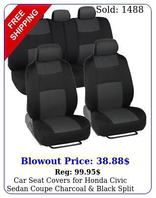 car seat covers honda civic sedan coupe charcoal black split benc