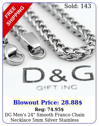 dg men's smooth franco chain necklace mm silver stainless steelunisexbo