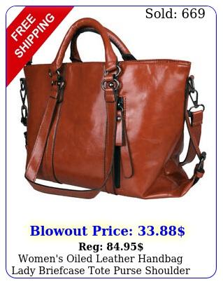 women's oiled leather handbag lady briefcase tote purse shoulder messenger ba