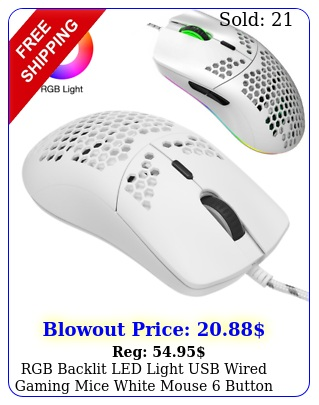 rgb backlit led light usb wired gaming mice white mouse button pc ma