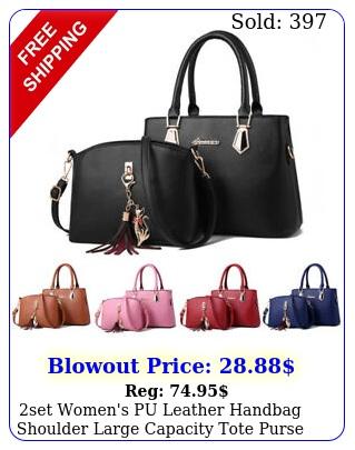set women's pu leather handbag shoulder large capacity tote purse messenger ba