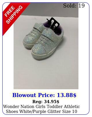 wonder nation girls toddler athletic shoes whitepurple glitter siz