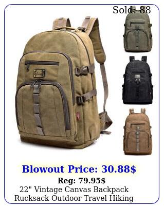 vintage canvas backpack rucksack outdoor travel hiking school satchel bag
