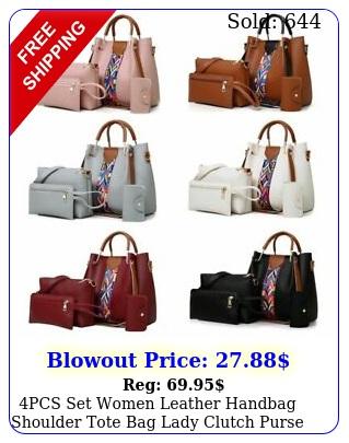 pcs set women leather handbag shoulder tote bag lady clutch purse card wallet