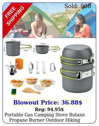 portable gas camping stove butane propane burner outdoor hiking picnic cookwar