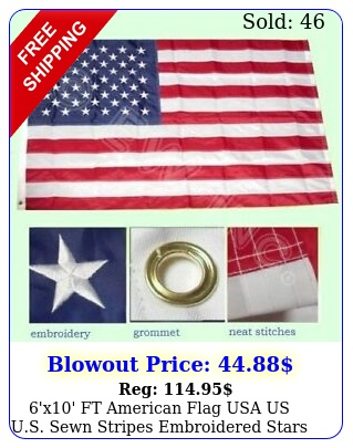 'x' ft american flag usa us us sewn stripes embroidered stars brass gromme