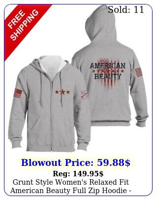 grunt style women's relaxed fit american beauty full zip hoodie gra