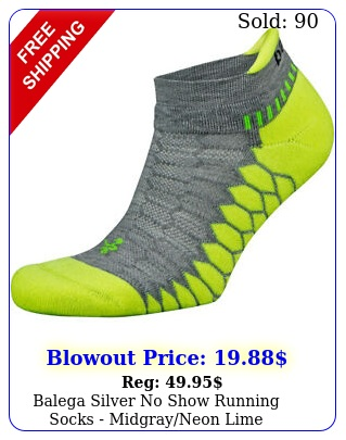 balega silver no show running socks midgrayneon lim