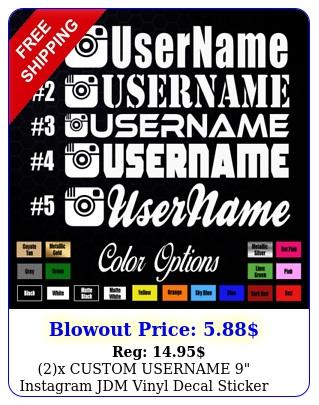 x custom username instagram jdm vinyl decal sticke