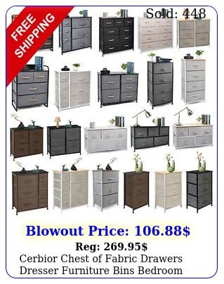 cerbior chest of fabric drawers dresser furniture bins bedroom storage organize