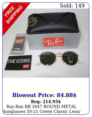 rayban rb round metal sunglasses green classic lens unisexu