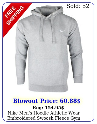 nike men's hoodie athletic wear embroidered swoosh fleece gym active pullove