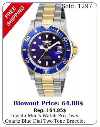 invicta men's watch pro diver quartz blue dial two tone bracele