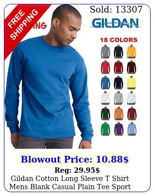 gildan cotton long sleeve t shirt mens blank casual plain tee spor
